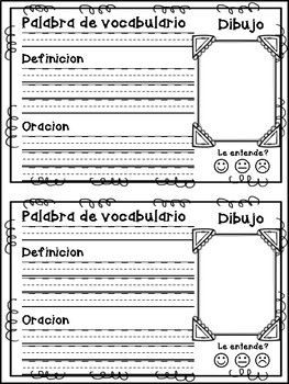 English and Spanish Vocabulary Journal