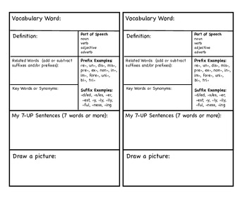 Vocabulary Journal Card