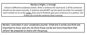 Vocabulary Journal: Graphic Organizers, Writing Prompts,& Partner Work *Editable
