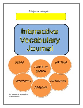 Vocabulary Journal-Interactive Common Core (Grades 3-8) Language Arts