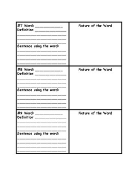 Vocabulary Journal Pages 10 Words