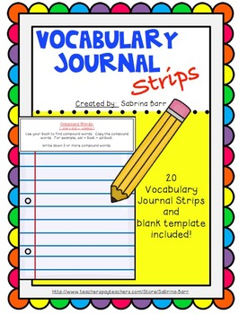 Vocabulary Journal Strips