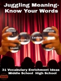 Vocabulary: Juggling Meaning: Know Your Words
