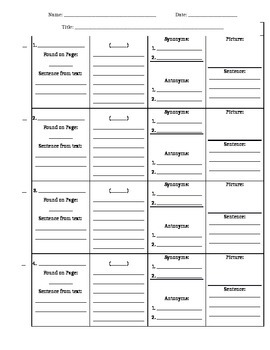 Vocabulary KIMM Sheets