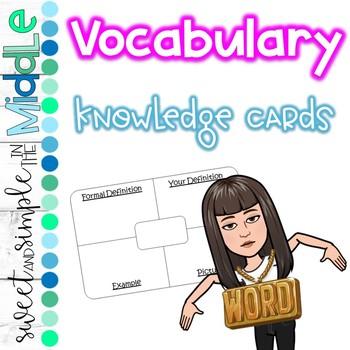 Vocabulary Knowledge Cards FREEBIE