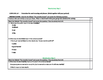 Vocabulary LAFS.3.RL.2.4: Determine the word meaning and phrases