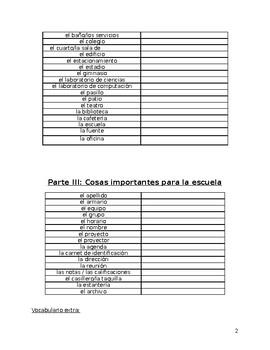Vocabulary: La escuela y las clases