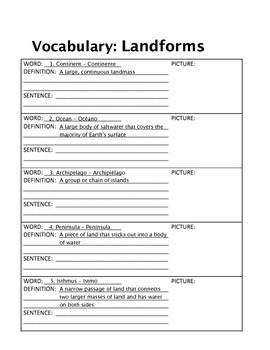 Vocabulary - Landforms, 20 English/Spanish Words, Definitions, Active Engagement