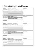 Vocabulary - Landforms, 20 English/Spanish Words, Definiti