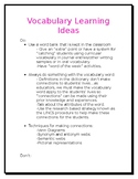 Vocabulary Learning Ideas