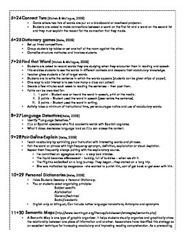 Vocabulary Lesson Ideas - 36 Weeks