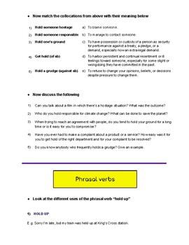 "Vocabulary Lesson Plan w/ phrasal verbs, idioms & collocations - ""Hold"" - B2"