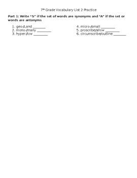 Vocabulary List 2 Practice