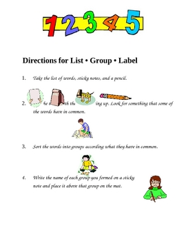 Vocabulary:  List Group Lable (English and Spanish)