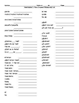 Vocabulary List: Realidades 1 Para Empezar