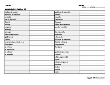 Vocabulary List (Realidades 2 CH 1A)