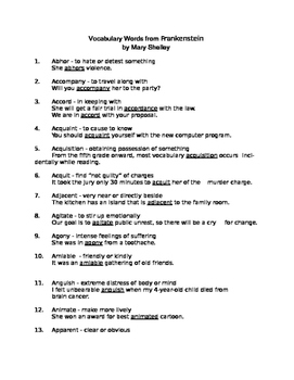 Vocabulary List for Frankenstein