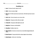 Vocabulary List for Phase Change Quiz