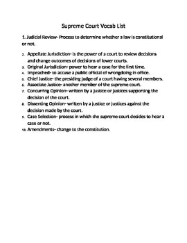 Vocabulary List for the U.S Supreme Court