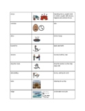 Vocabulary List with Picture Symbols for The Circus Ship
