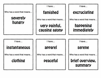 Vocabulary Loop Game - Active Fun for Middle / High School Students