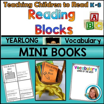 Vocabulary MINI BOOKS Kindergarten - 3rd YEARLONG Reading Blocks