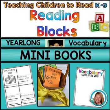 Vocabulary Activities MINI BOOKS Kindergarten - 3rd YEARLONG Reading Blocks