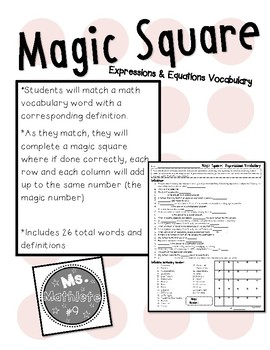 Vocabulary Magic Square:  Expressions and Equations