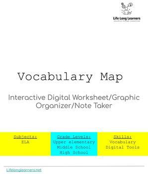 Vocabulary Map Interactive Digital Worksheet