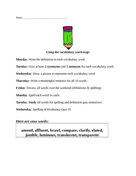 Vocabulary Map with Weekly Lessons and Assessment Example