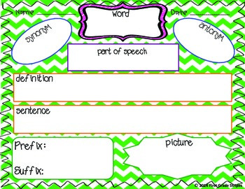 Vocabulary Maps Chevron Theme