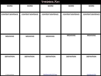Vocabulary Mat for Independent Reading or Guided Practice Worksheet