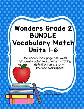 Vocabulary Match Bundle Wonders Grade 2 Units 1-6