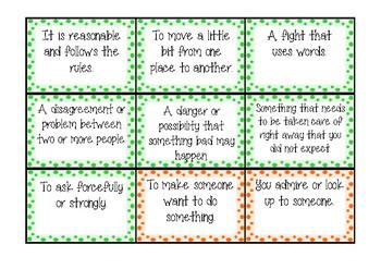 Vocabulary Match Game, Wonders 1st Grade Unit 6