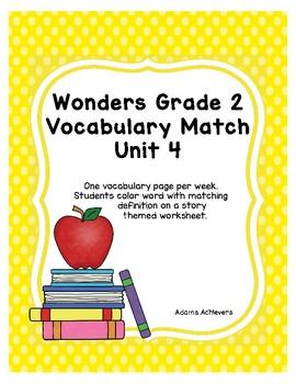 Vocabulary Match Wonders Grade 2 Unit 4