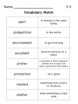 Vocabulary Match for 3rd Grade Reading Wonders