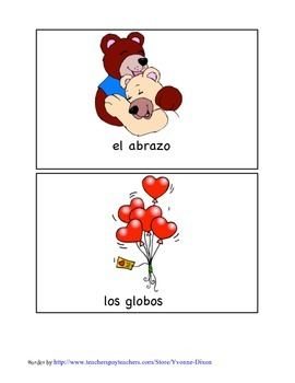 Vocabulary, Matching Game, and Flashcards for Valentine's Day in Spanish!