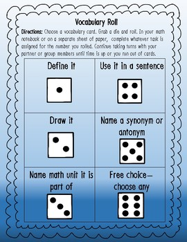 Vocabulary Matching Quizzes, Quick Check and Definition Cards 4th Grade Math