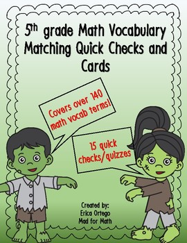 Vocabulary Matching Quizzes, Quick Check and Definition Cards 5th Grade Math
