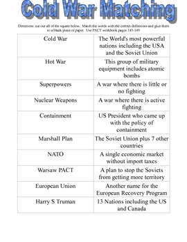 Modern History Vocabulary Matching Sheets