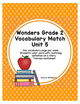 Vocabulary Matching Wonders Grade 2 Unit 5