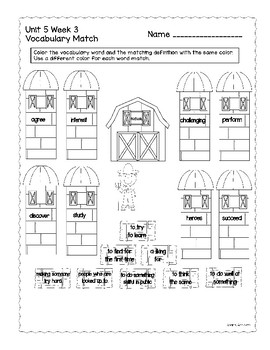 Vocabulary Matching Wonders Grade 2 Unit 5