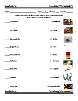 Vocabulary Matching Worksheet #1 - SAT Words
