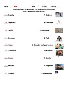 Vocabulary Matching Worksheet #2 - SAT Words