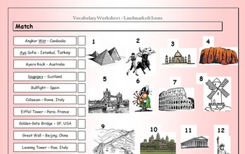 ESL EFL Vocabulary Matching Worksheet - Landmarks & Icons