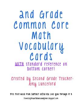 Vocabulary Math Word Wall 2nd Grade CC Aligned