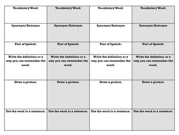 Vocabulary Matrix (Graphic Organizer)