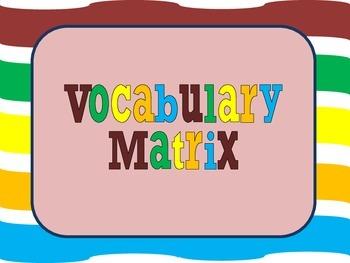 Vocabulary Matrix (Graphic Organizer)