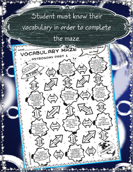 Vocabulary Maze Space (Astronomy) Part 1 - 8th Grade Science