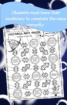 Vocabulary Maze Matter and Energy 8th Grade